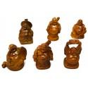 6pcs Wood Color Buddha Figurines
