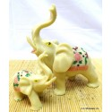 Ivory Color Mother & Son Elephant Statue